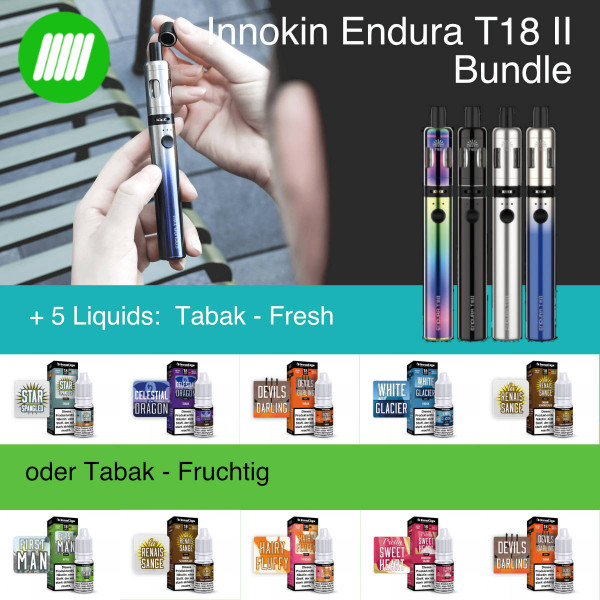 E-Zigarretten Bundle : Innokin Endura T18II + 5 Liquids